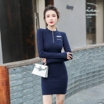 Dress Autumn 2020 navy blue Average size Short skirt singleton  Long sleeves commute Crew neck High waist Solid color zipper One pace skirt routine 18-24 years old Type X Korean version Chain, pocket, stitching, thread, zipper other