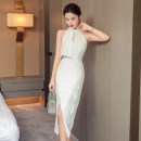 Dress Summer 2020 white S,M,L,XL longuette singleton  Sleeveless commute stand collar High waist Solid color zipper One pace skirt Hanging neck style 18-24 years old Korean version Hollow out, open back, stitching, button, zipper