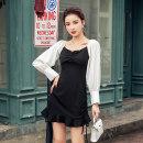 Dress Autumn 2020 black S,M,L,XL Short skirt singleton  Long sleeves commute V-neck High waist Solid color zipper Ruffle Skirt routine 18-24 years old Korean version Ruffle, pleat, open back, stitching, zipper
