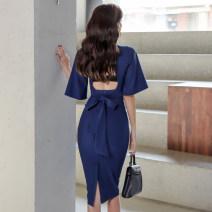 Dress Spring 2020 royal blue S,M,L,XL Mid length dress singleton  elbow sleeve commute V-neck High waist Solid color zipper Pencil skirt Lotus leaf sleeve Others 18-24 years old Korean version