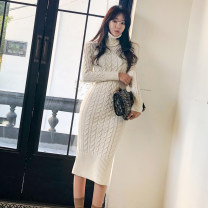 Dress Winter of 2019 White, blue, pink Average size Mid length dress singleton  Long sleeves commute High collar High waist Solid color Socket Pencil skirt Others 18-24 years old Korean version thread