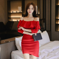 Dress Spring of 2019 gules S,M,L,XL Short skirt singleton  three quarter sleeve commute One word collar High waist Solid color zipper Pencil skirt Others 18-24 years old Korean version Ruffle, open back, chain, zipper
