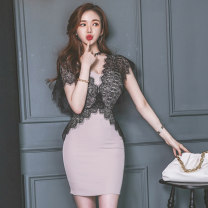 Dress Summer 2020 Pink S,M,L,XL Short skirt singleton  Short sleeve commute V-neck High waist Solid color zipper One pace skirt routine 18-24 years old Korean version Backless, stitching, zipper, lace