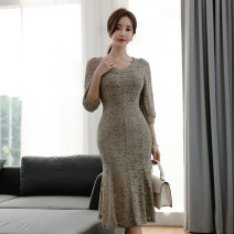 Dress Autumn 2020 Picture color S,M,L,XL Mid length dress singleton  three quarter sleeve commute V-neck High waist Solid color zipper Ruffle Skirt 18-24 years old Korean version Ruffles, stitching, zippers, lace
