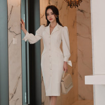 Dress Autumn of 2019 white S,M,L,XL Mid length dress singleton  Long sleeves commute V-neck High waist Solid color Single breasted Pencil skirt Others 18-24 years old Korean version Bow, pocket, stitching, buttons