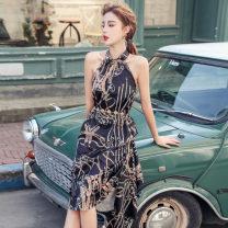 Dress Summer 2020 S,M,L,XL Mid length dress Two piece set Sleeveless commute stand collar High waist Decor zipper Irregular skirt routine Hanging neck style 18-24 years old Korean version