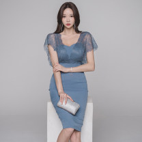 Dress Summer of 2019 blue S,M,L,XL Mid length dress singleton  Short sleeve commute V-neck High waist Solid color zipper Pencil skirt Others 18-24 years old Korean version Backless, stitching, zipper, lace