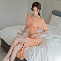Dress Summer 2020 Light orange S,M,L,XL Mid length dress singleton  Short sleeve commute One word collar High waist Solid color Socket One pace skirt Bat sleeve Others 18-24 years old Korean version Fold, splice