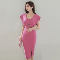 Dress Autumn 2020 rose red S,M,L,XL Mid length dress singleton  Short sleeve commute V-neck High waist Solid color zipper One pace skirt other Others 18-24 years old Type X Korean version Open back, stitching, zipper
