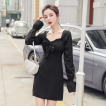 Dress Autumn 2020 black S,M,L,XL Short skirt singleton  Long sleeves commute square neck High waist Solid color zipper One pace skirt other Others 18-24 years old Korean version Bow, open back, fold, lace, zipper other