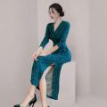 Dress Winter 2020 Decor S,M,L,XL longuette singleton  Long sleeves commute V-neck High waist Decor Socket One pace skirt routine 25-29 years old Korean version Fold, print