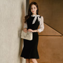 Dress Spring of 2019 Picture color S,M,L,XL Mid length dress singleton  three quarter sleeve commute stand collar High waist Solid color zipper Ruffle Skirt Others 18-24 years old Korean version Bow, ruffle, stitching, zipper