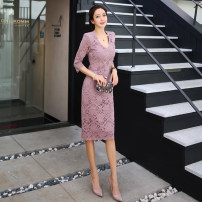 Dress Autumn of 2019 Pink S,M,L,XL Mid length dress singleton  three quarter sleeve commute V-neck High waist Solid color zipper Pencil skirt Others 18-24 years old Korean version Zipper, lace