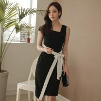 Dress Summer of 2018 black S,M,L,XL Middle-skirt singleton  Sleeveless commute Slant collar High waist Solid color zipper Pencil skirt Others 18-24 years old Korean version