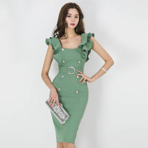 Dress Summer of 2018 green S,M,L,XL Mid length dress singleton  Sleeveless commute square neck High waist Solid color zipper Pencil skirt Others 18-24 years old Korean version Ruffles, lace up, stitching, buttons, zippers