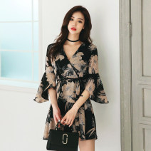 Dress Spring of 2019 Picture color S,M,L,XL Short skirt singleton  three quarter sleeve commute V-neck High waist Decor zipper A-line skirt pagoda sleeve Others 18-24 years old Korean version Bowknot, lace up, stitching, zipper, printing