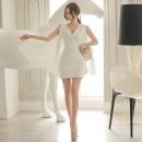 Dress Spring of 2018 white S,M,L Short skirt singleton  Long sleeves commute V-neck High waist Solid color zipper Pencil skirt Others 18-24 years old Korean version Panel, zipper
