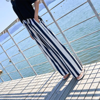 Casual pants Navy Stripe (trousers) black and white stripe (trousers) Navy Stripe (9 points) black and white stripe (9 points) S M L XL XXL XXXL Summer of 2018 trousers Wide leg pants High waist commute Thin money 25-29 years old SH-6611 Huanbai Korean version belt Pure e-commerce (online only)