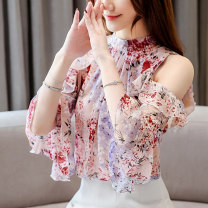 Lace / Chiffon Summer of 2019 Blue, pink, 9071 pink decor, 9071 apricot floret, 8886 red, 879 decor, 3112 black, 6048 decor, 801 pink, 801 beige, 7975 red, 7975 blue, 7975 green S,M,L,XL,2XL,3XL Short sleeve commute Socket singleton  Straight cylinder stand collar Decor pagoda sleeve Mischer