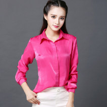 shirt Rose red, lake blue XS,S,M,L,XL,XXL Summer of 2019 silk 30% and below Long sleeves commute Regular stand collar Single row multi button routine Solid color Self cultivation Nine days of snow Ol style