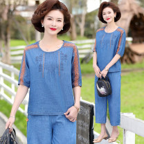 Middle aged and old women's wear Summer 2021 blue XL (90-110 kg recommended), 2XL (110-120 kg recommended), 3XL (120-135 kg recommended), 4XL (135-145 kg recommended), 5XL (145-160 kg recommended) fashion suit easy Two piece set Flower and bird pattern 40-49 years old Socket thin Crew neck routine