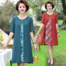 Middle aged and old women's wear Summer 2021 Red, green XL (90-110 kg recommended), 2XL (110-120 kg recommended), 3XL (120-135 kg recommended), 4XL (135-145 kg recommended), 5XL (145-160 kg recommended) fashion Dress easy singleton  Decor 40-49 years old Socket thin Crew neck Medium length routine