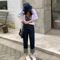 Women's large Spring 2021 Dark blue [regular] trousers singleton  commute moderate Korean version Denim L024 18-24 years old trousers