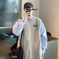 Sweater Youth fashion Others White, gray S. M, l, XL, 2XL, XS plus small stripe Socket routine Crew neck spring easy leisure time teenagers like a breath of fresh air Off shoulder sleeve cotton Splicing More than 95% Hong Kong Style