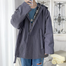 Jacket Other / other Youth fashion Off white, grey S. M, l, XL, 2XL, 3XL, 4XL, 5XL, XS plus small routine easy Other leisure spring Long sleeves Wear out Lapel Basic public youth routine Single breasted 2021 Straight hem Closing sleeve Solid color polyester fiber other Side seam pocket