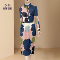 Dress Spring 2021 Picture color a small amount of spot picture color pre-sale for 20 days S M L XL Mid length dress singleton  Long sleeves street Polo collar middle-waisted Decor Socket One pace skirt routine Others 30-34 years old Type H Diffie Rieger printing DR21S0304 More than 95% other