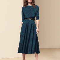 Dress Autumn 2020 Picture color a small amount of spot picture color pre-sale for 20 days S M L XL Mid length dress singleton  three quarter sleeve street Crew neck middle-waisted Decor zipper A-line skirt routine Others 30-34 years old Type A Diffie Rieger zipper More than 95% other polyester fiber