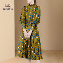 Dress Spring 2021 Picture color a small amount of spot picture color pre-sale for 20 days S M L XL Mid length dress singleton  Nine point sleeve street stand collar middle-waisted zipper A-line skirt routine Others 30-34 years old Type A Diffie Rieger printing DR21S0818 More than 95% other