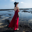 Dress Summer 2021 8406v collar red, 8406v collar black S,M,L,XL longuette singleton  Sleeveless Sweet High waist Solid color Socket Big swing camisole 18-24 years old Type A Cut out, open back, zipper 81% (inclusive) - 90% (inclusive) Chiffon Bohemia