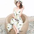 巴厘岛海滩裙2018夏季碎花连衣裙V领露背吊带沙滩裙海边度假长裙