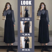 Women's large Spring 2021 Other oversize styles Two piece set commute easy moderate Conjoined Long sleeves Solid color Korean version Half high collar routine Three dimensional cutting Wrap sleeves Sffw-75596 Savirry / shafeli fungus longuette Other 100.00% Pure e-commerce (online only) other