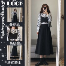 Women's large Spring 2021 Dress Three piece set commute easy moderate Socket Long sleeves Solid flower Korean version Crew neck routine Three dimensional cutting routine GMmD3-506354 Savirry / shafeli Button Medium length Other 100.00% Pure e-commerce (online only) other