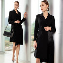 Dress Spring 2020 Black dress, white dress S,M,L,XL Middle-skirt singleton  Long sleeves commute tailored collar High waist double-breasted routine Others 25-29 years old Type X AD Ol style Fold, pocket, lace up Q341-B polyester fiber