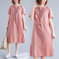 Dress Summer 2021 Picture color M,L,XL,2XL Mid length dress singleton  Short sleeve commute V-neck Loose waist Solid color Socket A-line skirt routine Others 25-29 years old Type A Other / other literature Frenulum 51% (inclusive) - 70% (inclusive) other hemp