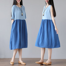 Dress Summer 2021 Blue Short Sleeve M [below 115 Jin], l [115-130 Jin], XL [130-145 Jin], 2XL [145-160 Jin] Mid length dress singleton  Short sleeve commute Crew neck Loose waist other Socket A-line skirt routine Others 30-34 years old Type A Other / other literature Splicing hemp