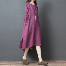 Dress Autumn of 2019 Orange, purple, green M,L,XL,2XL Mid length dress singleton  Long sleeves commute Crew neck Loose waist Solid color other other routine Others 30-34 years old Type A Other / other Retro Pocket, button 81% (inclusive) - 90% (inclusive) cotton