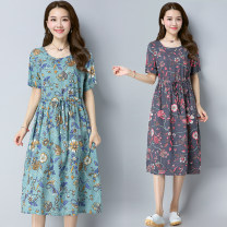 Dress Summer of 2018 Green, coffee M,L,XL,2XL Mid length dress singleton  Short sleeve commute Crew neck Elastic waist Decor Socket Big swing routine Others 25-29 years old Type A Other / other literature Fold, tie, print 51% (inclusive) - 70% (inclusive) other hemp
