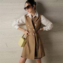 Dress Spring 2021 Milk tea color XS,S,M,L,XL Mid length dress singleton  Sleeveless commute double-breasted Dimple Hsu Q32073 71% (inclusive) - 80% (inclusive) cotton