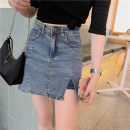 skirt Summer 2020 S,M,L,XL Denim blue Short skirt commute High waist Denim skirt Solid color Type A 18-24 years old 81% (inclusive) - 90% (inclusive) other other Pocket, button, zipper Korean version