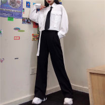 Casual pants White shirt (for tie), gray shirt (for tie), black shirt (for tie), black pants, white shirt + black pants (for tie), gray shirt + black pants (for tie), black shirt + black pants (for tie) S,M,L Autumn 2020 trousers Wide leg pants High waist street routine 18-24 years old other pocket