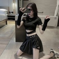 skirt Summer 2021 S,M,L Black top (with gloves), black pleated skirt, top + pleated skirt (with gloves) Short skirt street High waist Pleated skirt Solid color Type A 18-24 years old 81% (inclusive) - 90% (inclusive) other other Asymmetry Punk