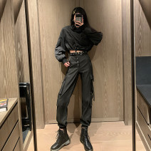 Casual pants Black sweater, black pants (belt and chain), black sweater + black pants (belt) S,M,L,XL Autumn 2020 trousers Overalls High waist street routine 18-24 years old 81% (inclusive) - 90% (inclusive) other pocket Hip hop