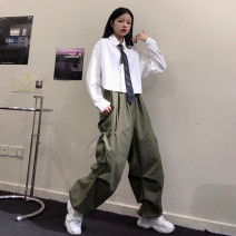 Casual pants White shirt (for tie), blue shirt (for tie), military green pants, black pants, white shirt + military green pants (for tie), blue shirt + black pants (for tie) S,M,L Autumn 2020 trousers Overalls High waist street routine 18-24 years old 81% (inclusive) - 90% (inclusive) other pocket
