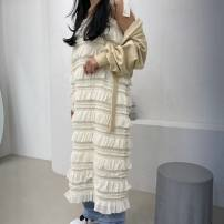 Dress Summer 2020 Average size Short skirt singleton  Long sleeves commute V-neck middle-waisted Broken flowers Single breasted routine 25-29 years old printing polyester fiber