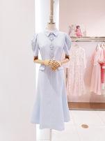 Dress Summer 2021 Light blue, green XS,S,M,L,XL Mid length dress singleton  Short sleeve commute Solid color zipper puff sleeve Others Korean version