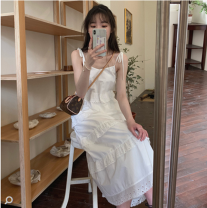 Dress Summer 2021 The second batch of fairy white S,M,L,XL,2XL singleton  Sleeveless commute High waist Solid color Socket routine 18-24 years old 31% (inclusive) - 50% (inclusive) other